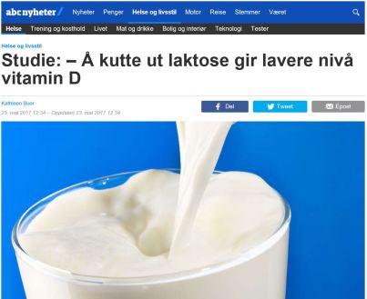 Å kutte ut laktose gir lavere nivå av vitamin D
