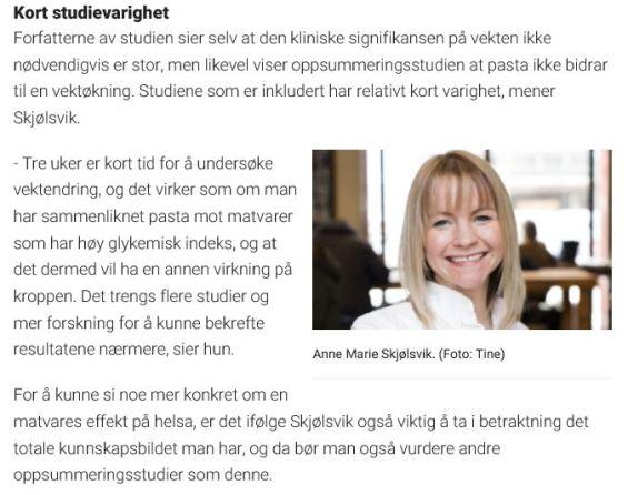 Dagbladet Mat - klinisk ernæringsfysiolog Anne Marie Skjølsvik
